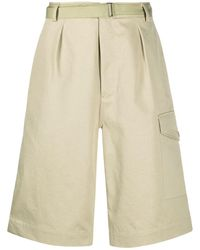 AURALEE Oversized Pleated Chino Shorts - Natural