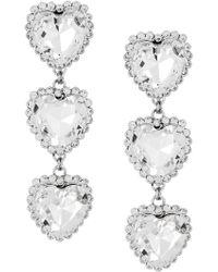 Alessandra Rich - Crystal Triple Heart Earrings - Lyst