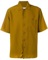 AMI Camp Collar Short Sleeve Shirt With Chest Pocket - Brown