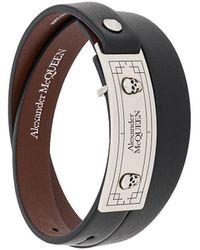 Alexander McQueen Leren Armband - Zwart
