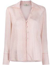 Fendi Фактурная Рубашка С V-образным Вырезом - Розовый