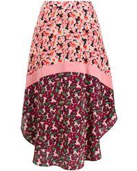 Stella McCartney Floral Panel Curved-hem Skirt - Zwart