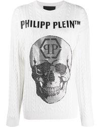Philipp Plein Rhinestone Skull Logo Jumper - White