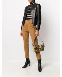 Arma Collarless Zip-up Leather Jacket - Black
