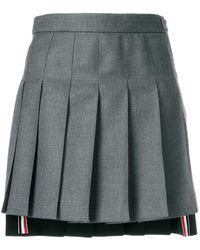 Thom Browne Striped Pleated Fun Mix Mini Skirt - Grijs
