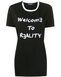 Dolce & Gabbana T-shirt Welcome To Reality con stampa - Nero