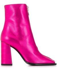 MSGM Squared Toe Metallic Boots - Pink