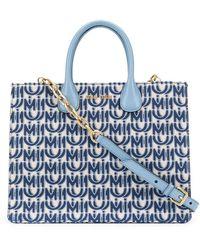 Miu Miu Logo Jacquard Tote - Blue