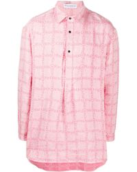 JW Anderson チェック ロゴ シャツ - ピンク
