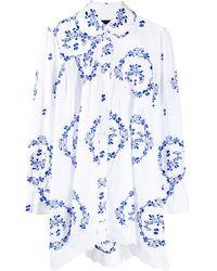 Simone Rocha Рубашка Оверсайз С Цветочной Вышивкой - Белый