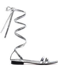 6a042ad6b20 Newbark - Metallic Silver Rosa Eel Leather Sandals - Lyst
