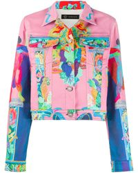 Versace Printed Denim Jacket - Pink