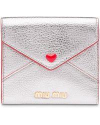 Miu Miu Madras Love Envelope Card Holder - Metallic