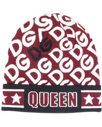 Dolce & Gabbana Шапка Бини Вязки Интарсия С Логотипом - Красный