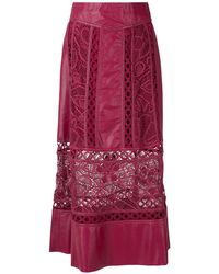 Martha Medeiros Dona Leather Midi Skirt - Red