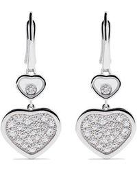Chopard 18kt White Gold Happy Hearts Diamond Drop Earrings - Многоцветный