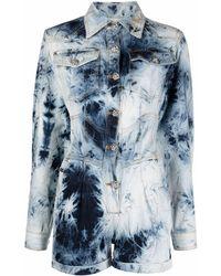 Philipp Plein Short Bleached Denim Jumpsuit - Blue