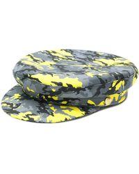 Manokhi Camouflage Print Biker Hat - Gray