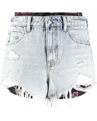 Alexander Wang Shorts in Distressed-Optik - Blau