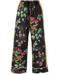 Cynthia Rowley Pantalones de pijama con estampado floral - Negro
