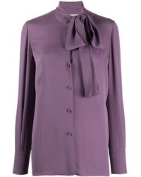 Valentino Pussy-bow Buttoned Blouse - Purple