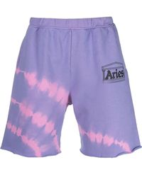 Aries Tie Dye-print Track Shorts - Purple