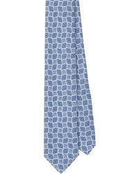 Prada Arabesque Print Twill Tie - Blue