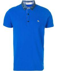 Etro ペイズリーカラー ポロシャツ - ブルー