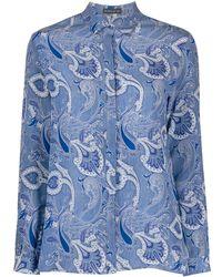 Etro Long Sleeve Paisley-print Silk Shirt - Blue