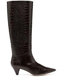 JOSEPH Croc-embossed Boots - Brown