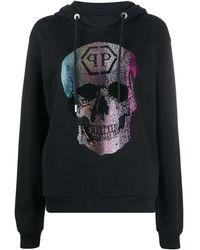 Philipp Plein Embellished Skull Hoodie - Black
