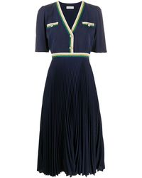 Sandro Buttoned V-neck Pleated Dress - Blue