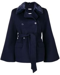 P.A.R.O.S.H. Fur collar double-breasted jacket - Bleu