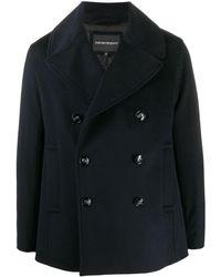 Emporio Armani Double-breasted Coat - Blue
