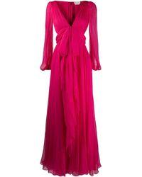 Alexander McQueen リボン イブニングドレス - ピンク