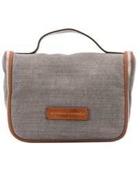 Brunello Cucinelli Leather Stap Wash Bag - Grey