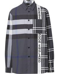 Burberry Patchwork Check-pattern Shirt - Grey