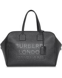 Burberry Logo Embossed Leather Holdall - Black