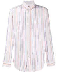 Etro Camisa a rayas con logo bordado - Blanco