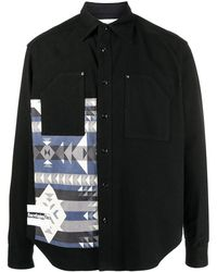 Facetasm ジオメトリック ニットシャツ - ブラック