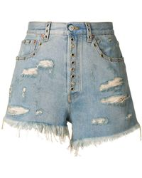 Gucci Distressed Fitted Shorts - Blue
