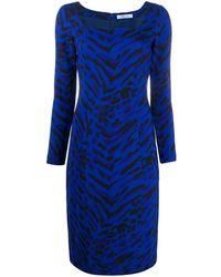 Blumarine ゼブラプリント ドレス - ブルー