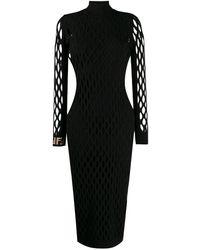Fendi Приталенное Платье С Сетчатыми Вставками - Черный