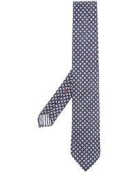 Dell'Oglio Cravatta con motivo geometrico - Blu