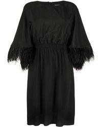 Yves Salomon Feathered Cuff Midi Dress - Black