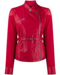 Pinko Belted Zip-up Biker Jacket - Red