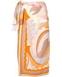 Emilio Pucci - Acapulco Silk-twill Wrap Skirt - Lyst