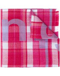 Acne Studios Logo Plaid Scarf - Pink