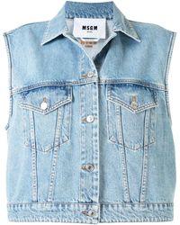 MSGM Джинсовая Куртка Без Рукавов С Вышитым Логотипом - Синий