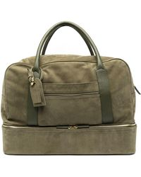 Eleventy Zipped Leather Holdall - Green